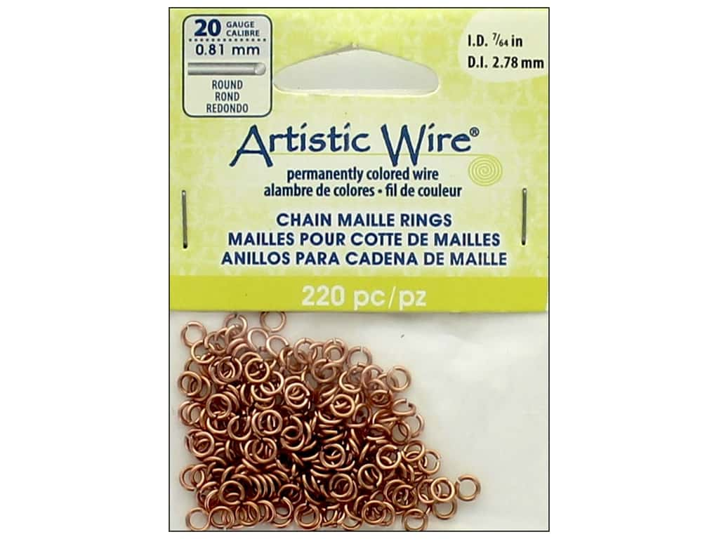 Artistic Wire Chain Maille Jump Rings 20 ga. 7/64 in. Natural 220 pc.