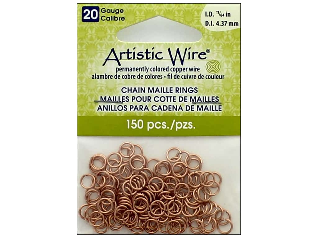 Artistic Wire Chain Maille Jump Rings 20 ga. 11/64 in. Natural 150 pc.