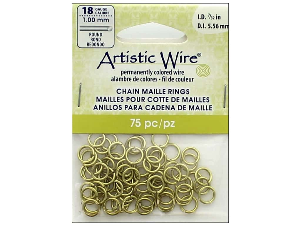 Artistic Wire Chain Maille Jump Rings 18 ga. 7/32 in. Brass 75 pc.