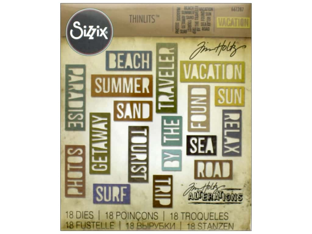 Sizzix Thinlits Die Set 18 pc. Vacation Words: Block