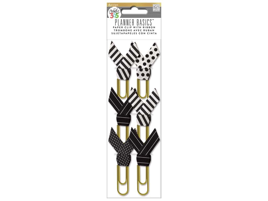 Me & My Big Ideas Create 365 Happy Planner Paperclips with Ribbon 6 pc. Black & White