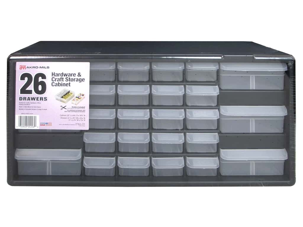 Akro-Mils Hardware & Craft Storage Cabinet 26 Drawer Black/Grey