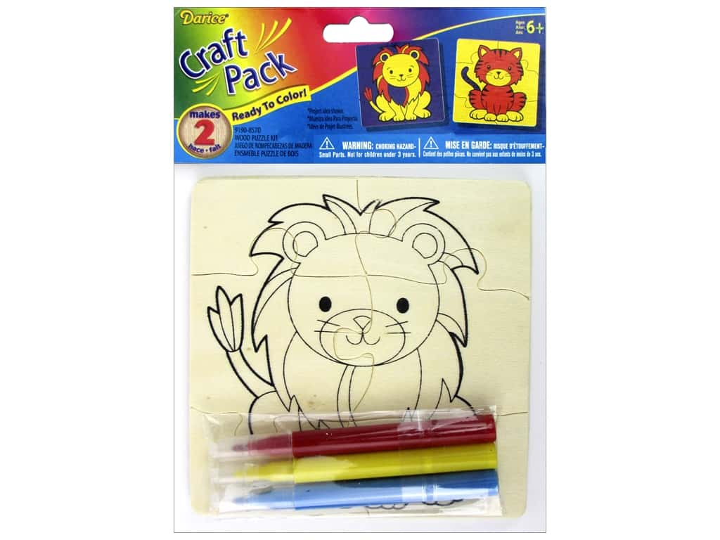 Darice Color-In Wood Puzzle Kit - Lion & Tiger