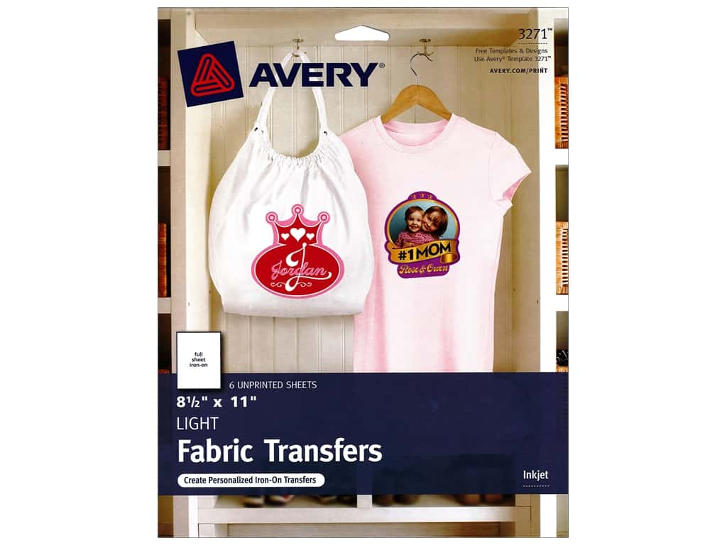 Avery Fabric Transfers for Inkjet Printers 8 1/2 x 11 in. Light 6 pc.