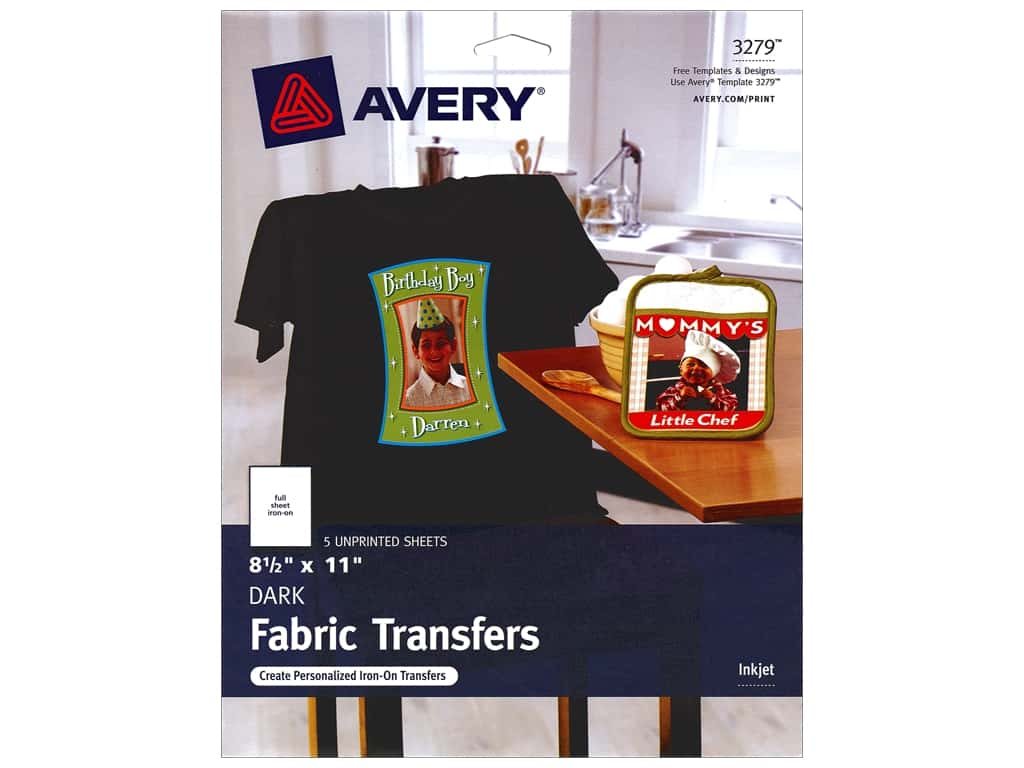 Avery Fabric Transfers for Inkjet Printers 8 1/2 x 11 in. Dark T-Shirt 5 pc.