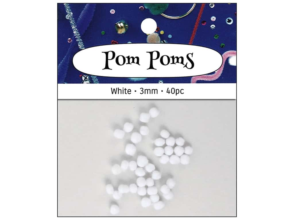 PA Essentials Pom Poms 1/8 in. White 40 pc.