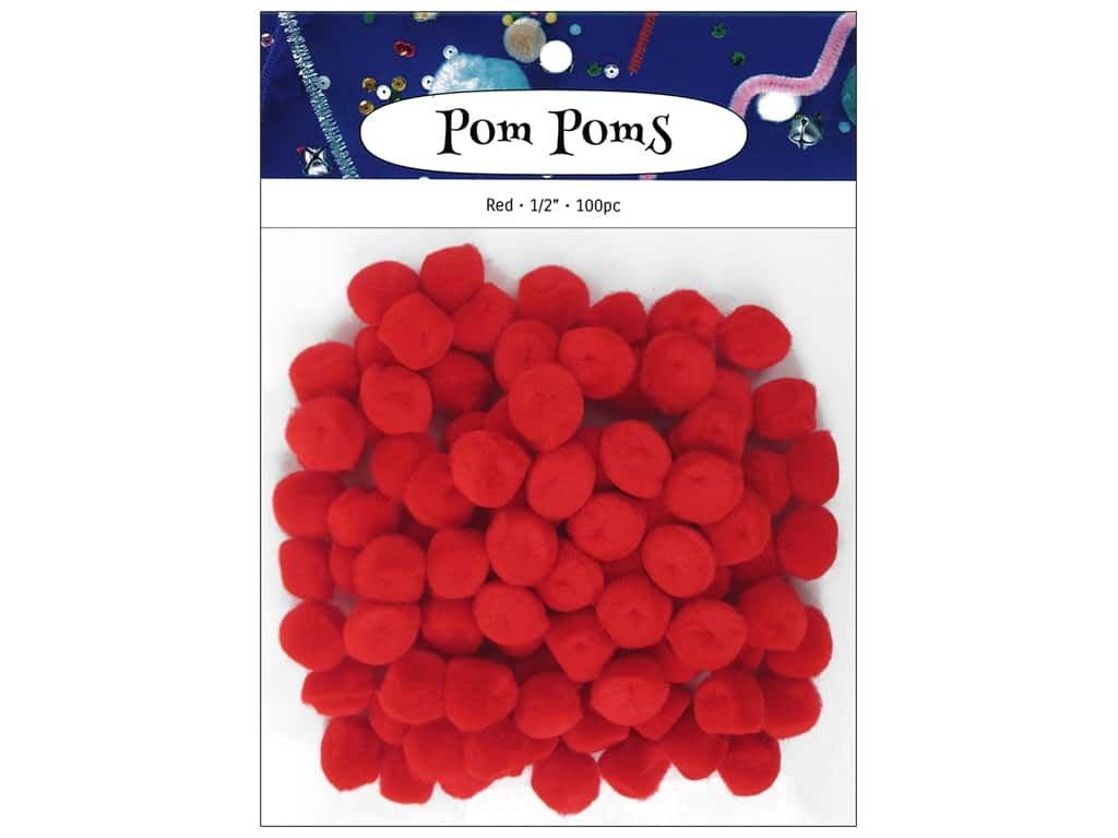 PA Essentials Pom Poms 1/2 in. Red 100 pc.
