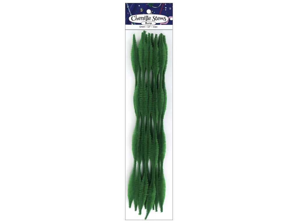 PA Essentials Bump Chenille Stems 15 mm x 12 in. Green 12 pc.