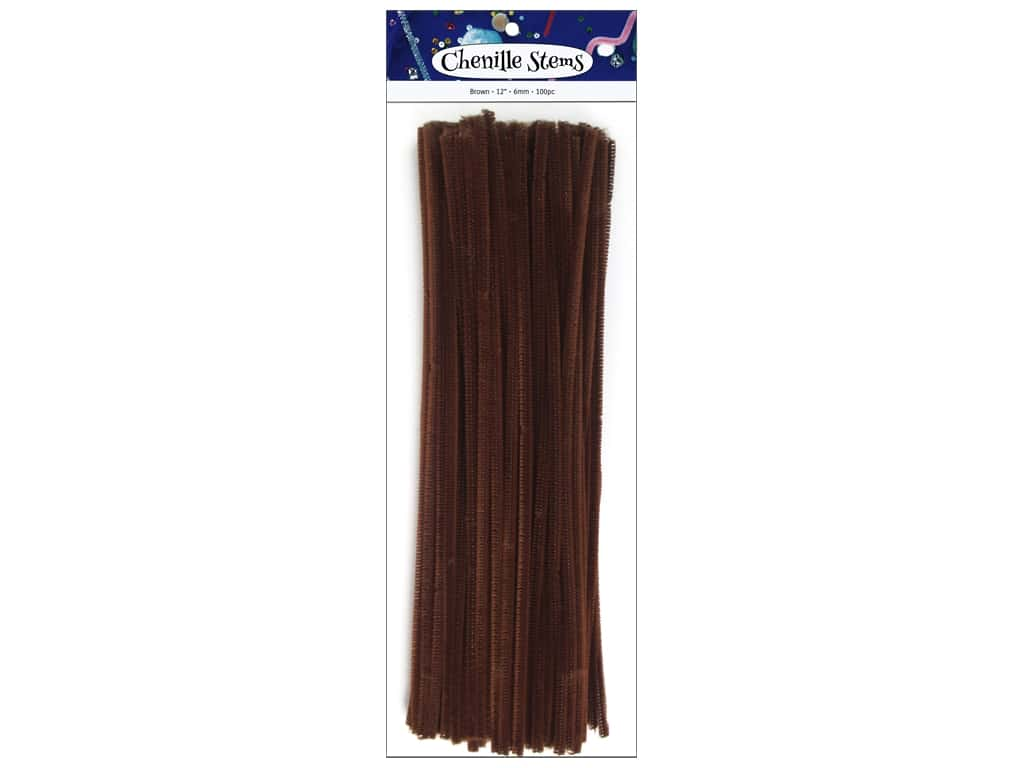 PA Essentials Chenille Stems 6 mm x 12 in. Brown 100 pc.