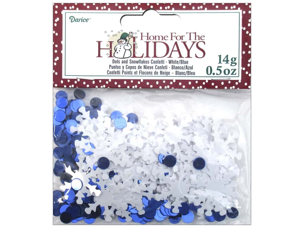 Darice Confetti Pack Dots and Snowflakes .5 oz. Blue & White