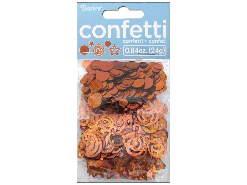 Darice Confetti Pack Dot/Swirl/Star .84 oz. Orange
