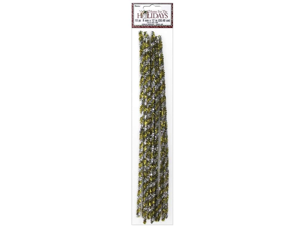 Darice Chenille Stems 8 mm x 12 in. Tinsel Gold/Silver Twist 10 pc.