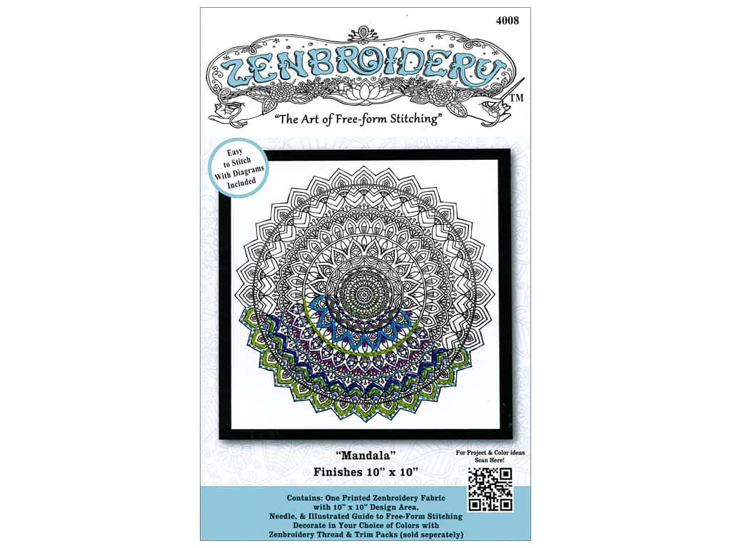 Design Works Zenbroidery Stamped Embroidery Fabric Kit 10 x 10 in. Mandala