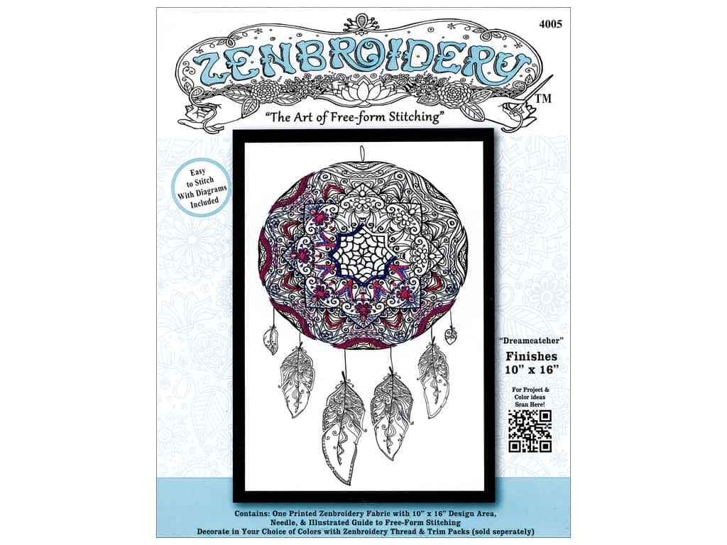 Design Works Zenbroidery Stamped Embroidery Fabric Kit 10 x 16 in. Dreamcatcher