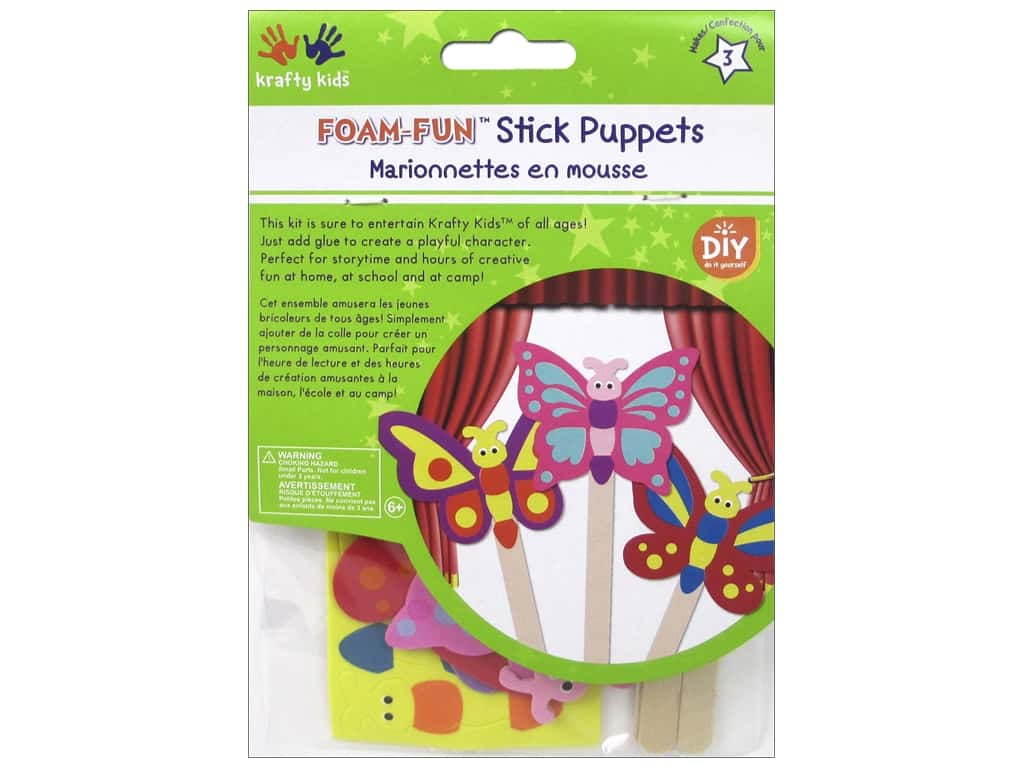 Multicraft Krafty Kids DIY Stick Foam Puppets Flutter Friends