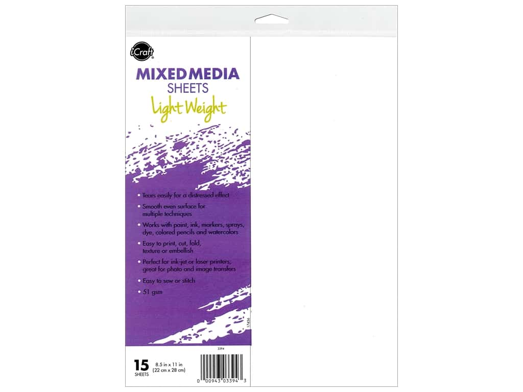 iCraft Mixed Media Sheets Light Weight 15pc