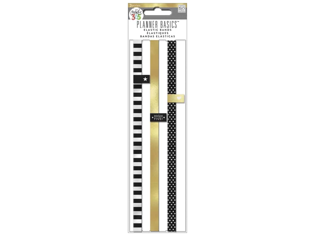 Me & My Big Ideas Create 365 Happy Planner Elastic Bands 3 pc. Black, While and Gold