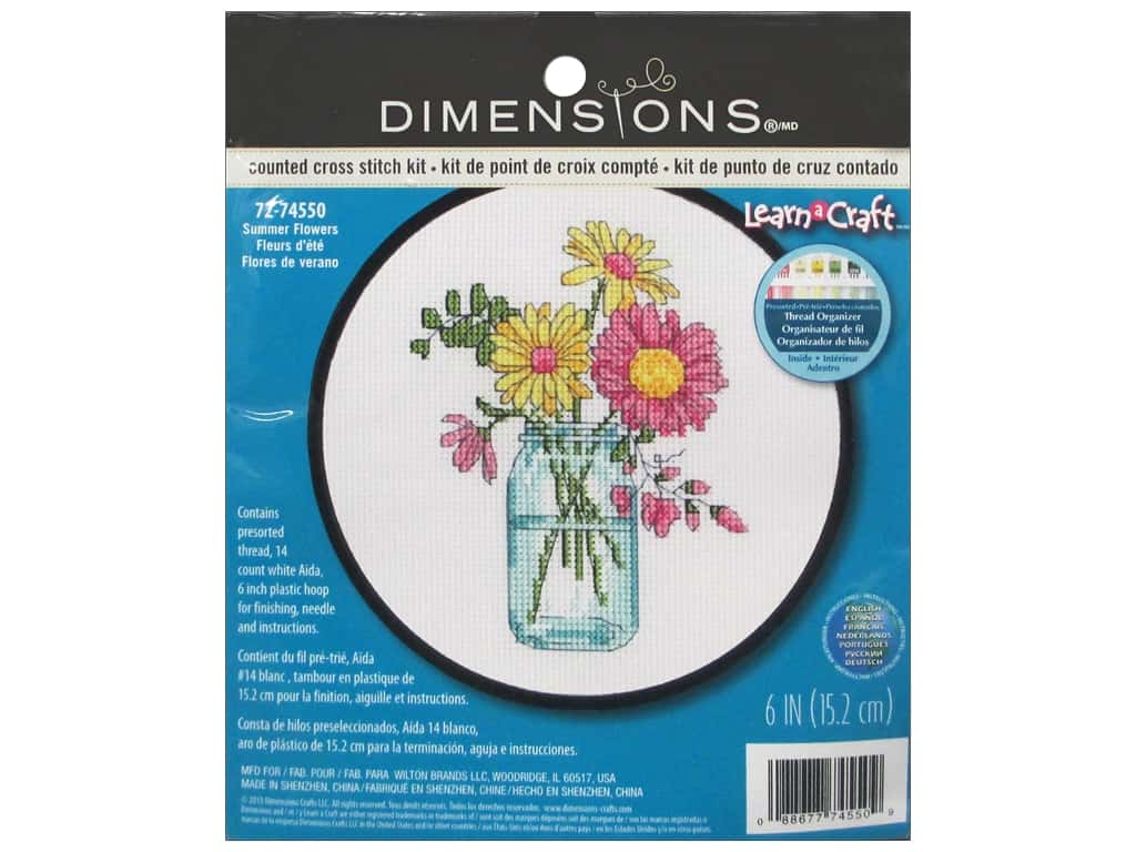 Dimensions Counted Cross Stitch Kit 6 in. Summer Flowers
