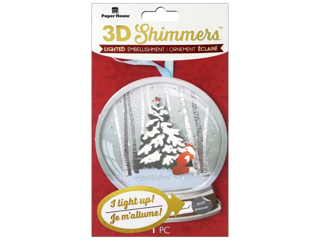 Paper House Sticker 3D LED Shimmer Woodland Snow Globe