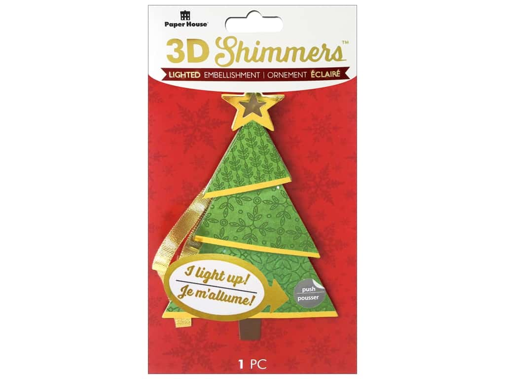 Paper House 3D Shimmers Stickers - Modern Christmas Tree