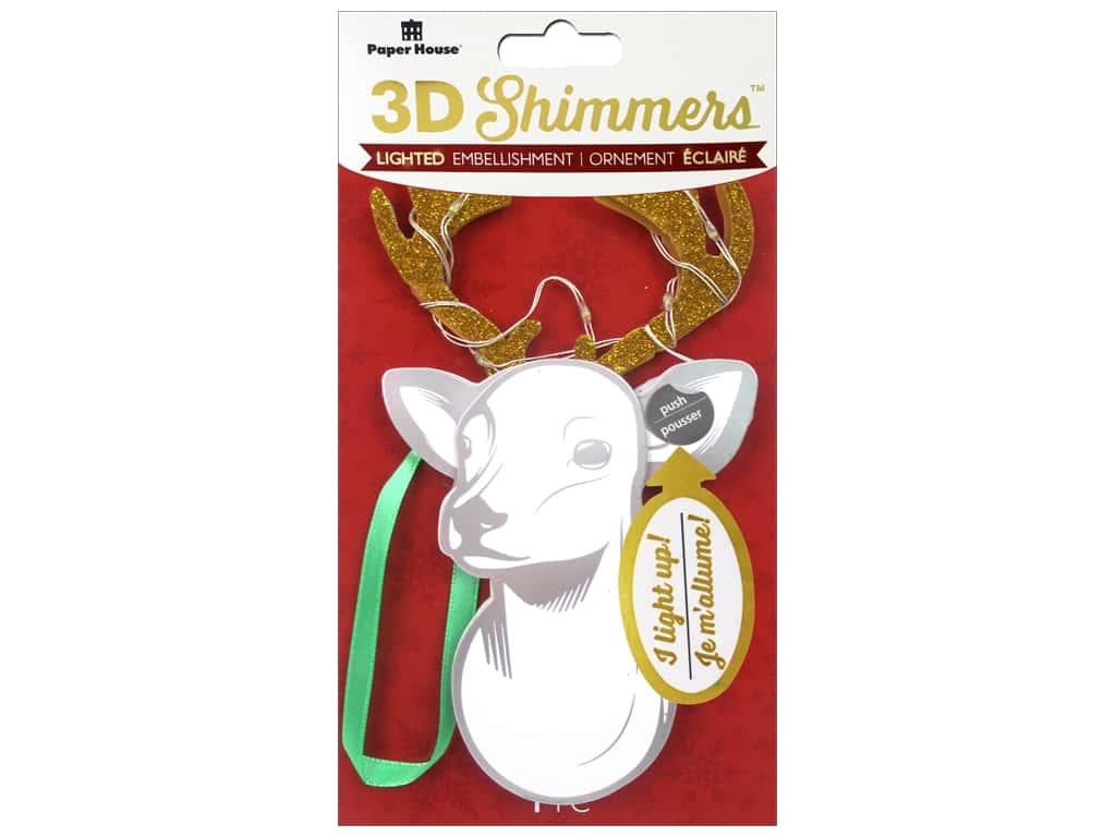 Paper House Sticker 3D LED Shimmer Deer Head