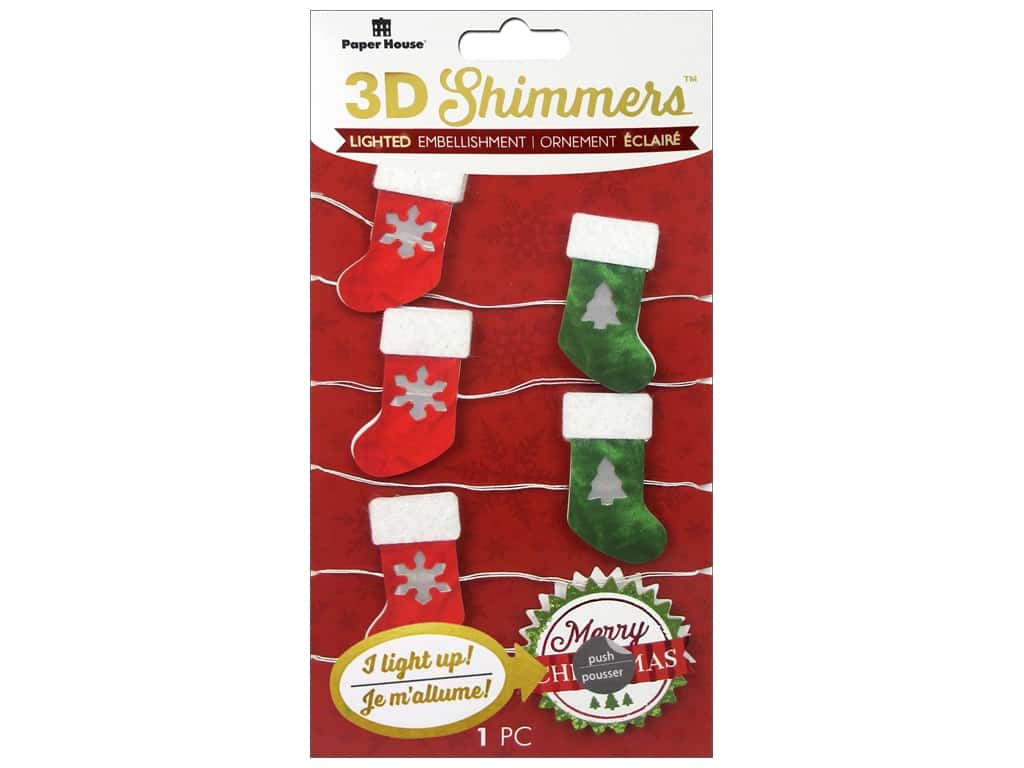 Paper House Sticker 3D LED Shimmer Stocking Garland