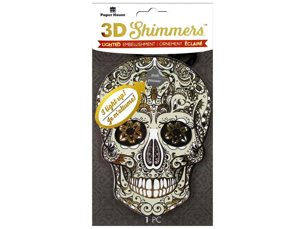 Paper House Sticker 3D LED Shimmer Sugar Skull