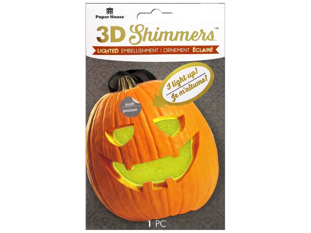 Paper House 3D Shimmers Stickers - Jack-O-Lantern
