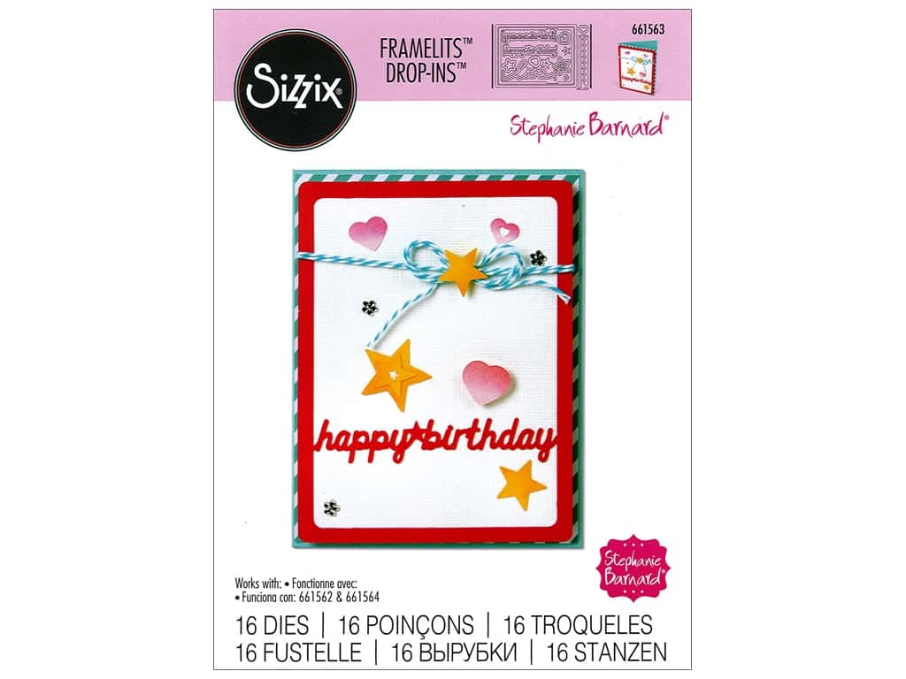 Sizzix Framelits Die Set 16 pc. Card Front with Script Words Drop-ins