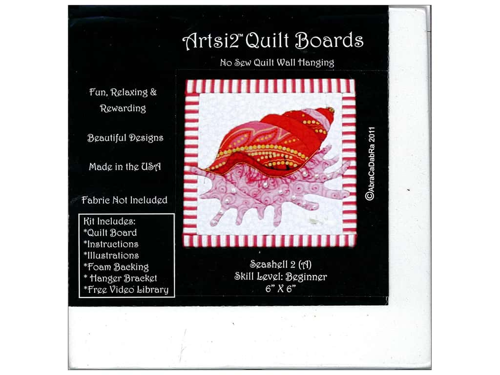 Artsi2 Quilt Board No Sew Quilt Wall Hanging Kit 6 x 6 in. Seashell #2