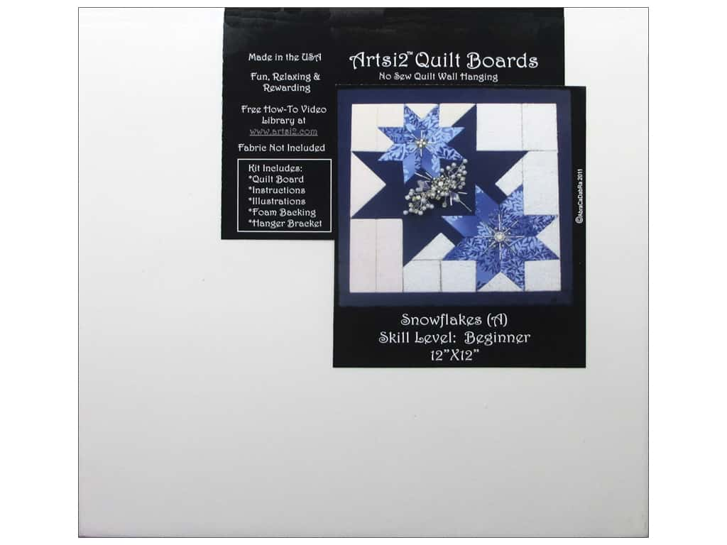Artsi2 Quilt Board No Sew Quilt Wall Hanging Kit 12 x 12 in. Snowflakes