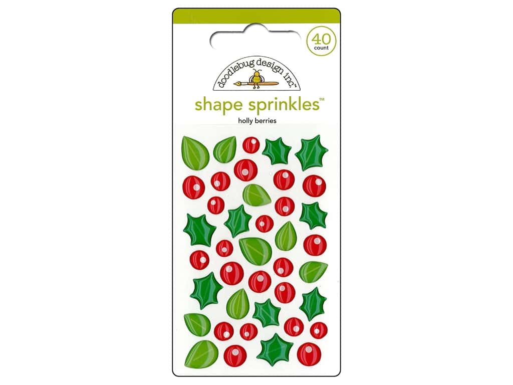 Doodlebug Sprinkles Stickers Here Comes Santa Claus Holly Berries