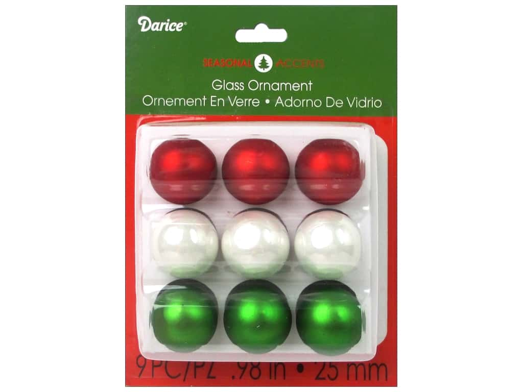 """Darice Holiday Ornament 1"""" Red White Green 9pc"""