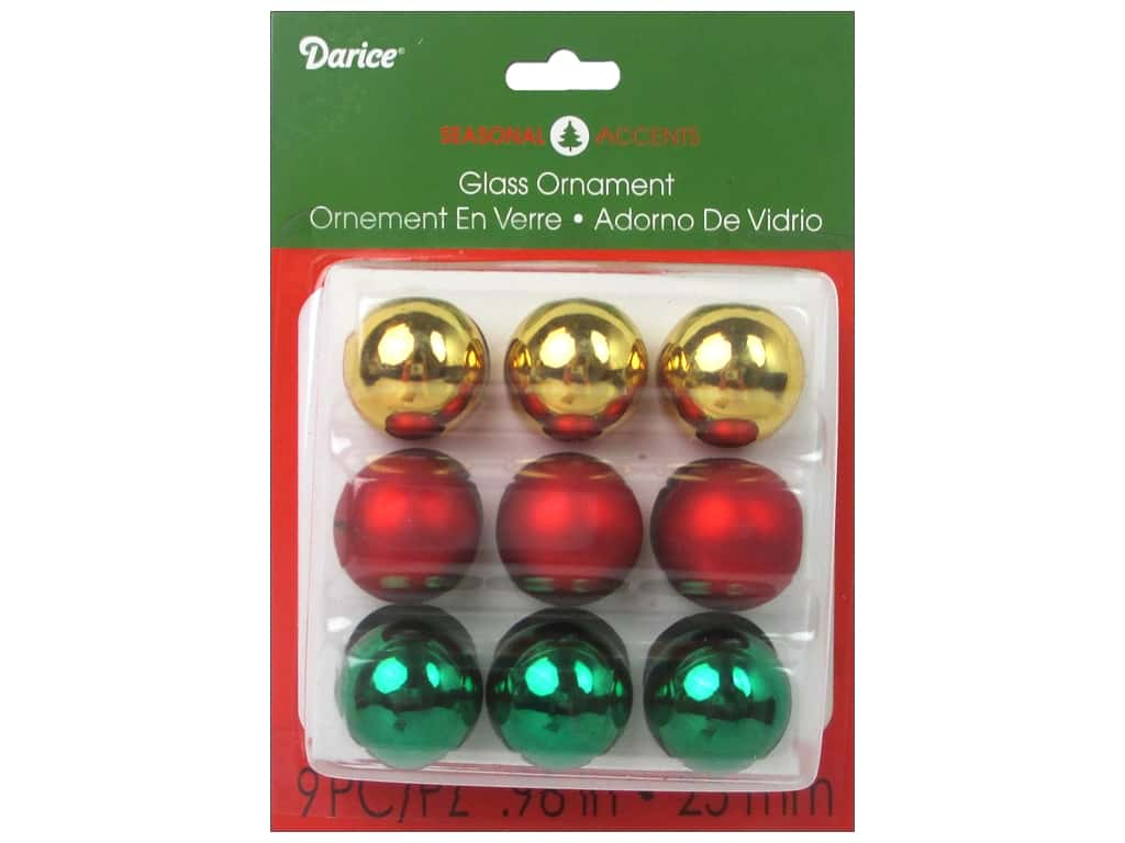 "Darice Holiday Ornament 1"" Red Gold Green 9pc"