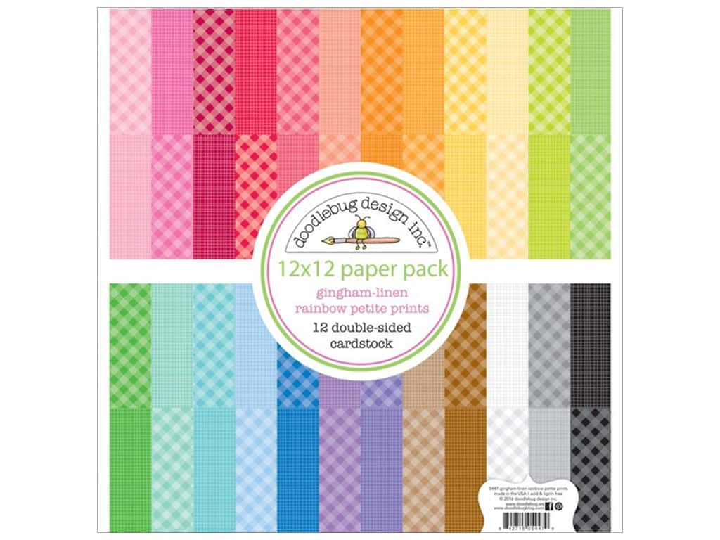 Doodlebug 12 x 12 in. Paper Pack Petite Prints Gingham Linen Rainbow