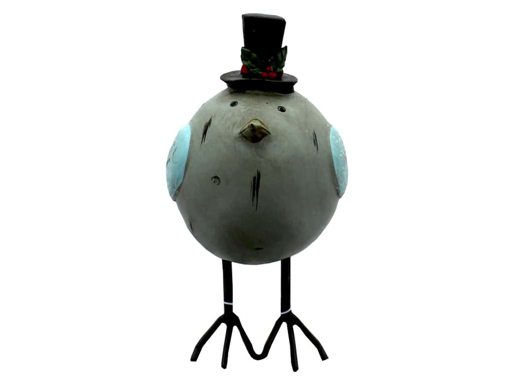 Sierra Pacific Crafts Bird Statuette Fat With Wire Legs Top Hat Blue