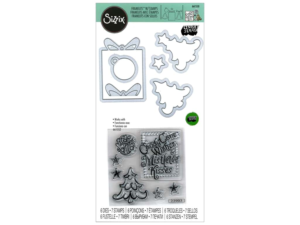 Sizzix Lindsey Serata Framelits Die & Stamp Set Candy Cane Wishes