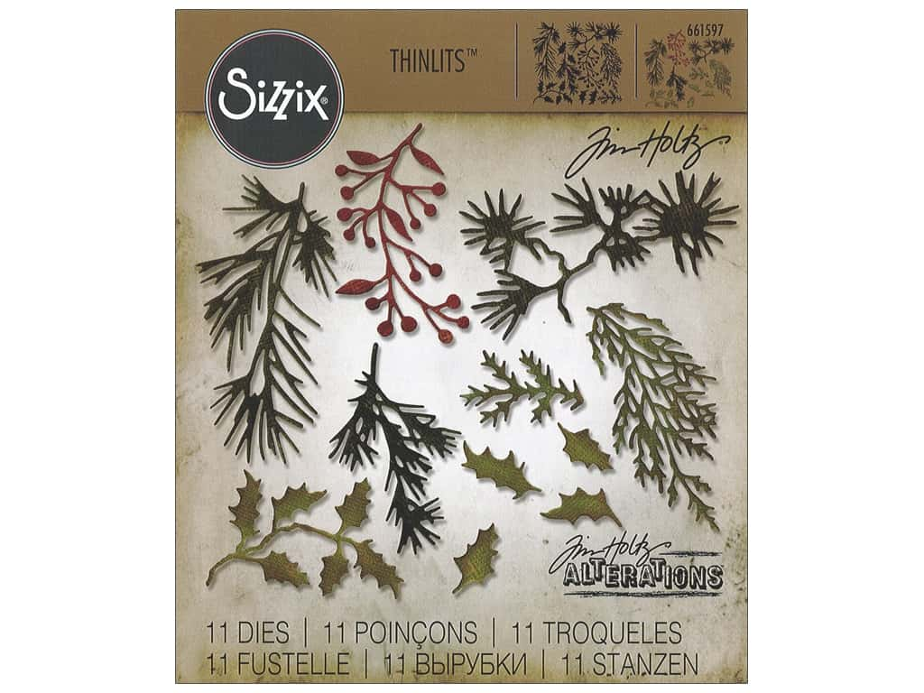 Sizzix Tim Holtz Thinlits Die Set 11 pc. Mini Holiday Greens
