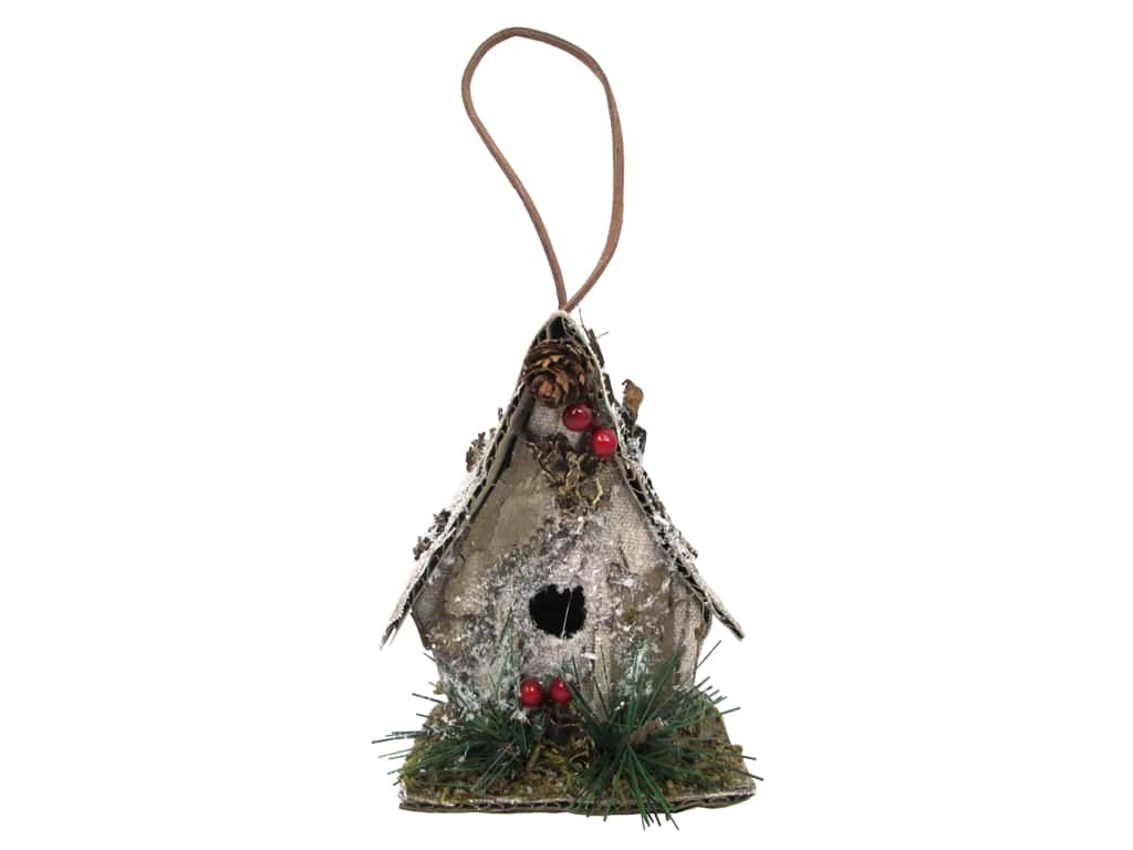 Sierra Pacific Crafts Ornament Birdhouse Bark Look Natural
