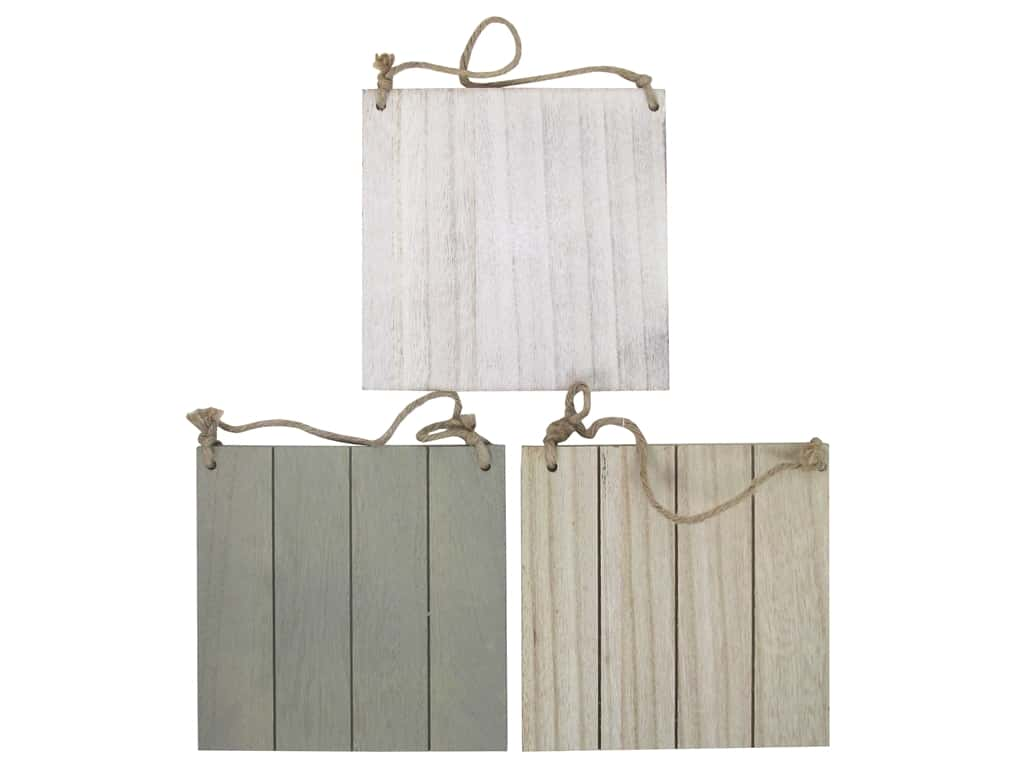 Sierra Pacific Crafts Wood Wall Art Plaque With Jute Hanger Assorted Brown/Grey/White