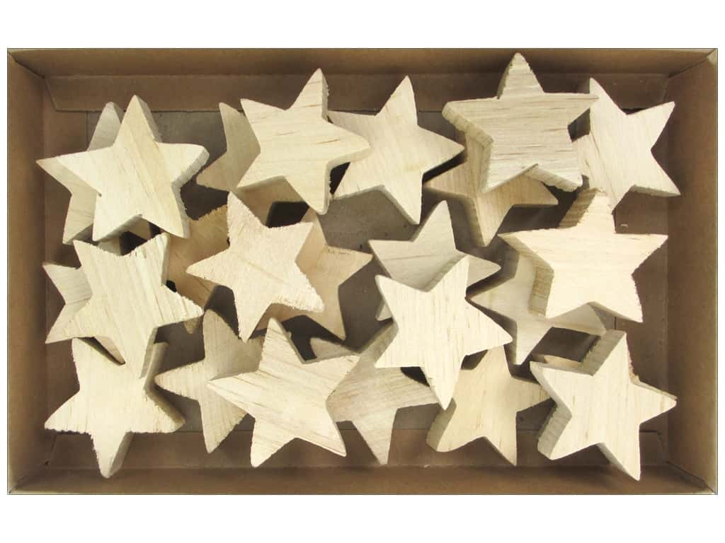 Sierra Pacific Crafts Wood Stars in Box Natural 24 pc