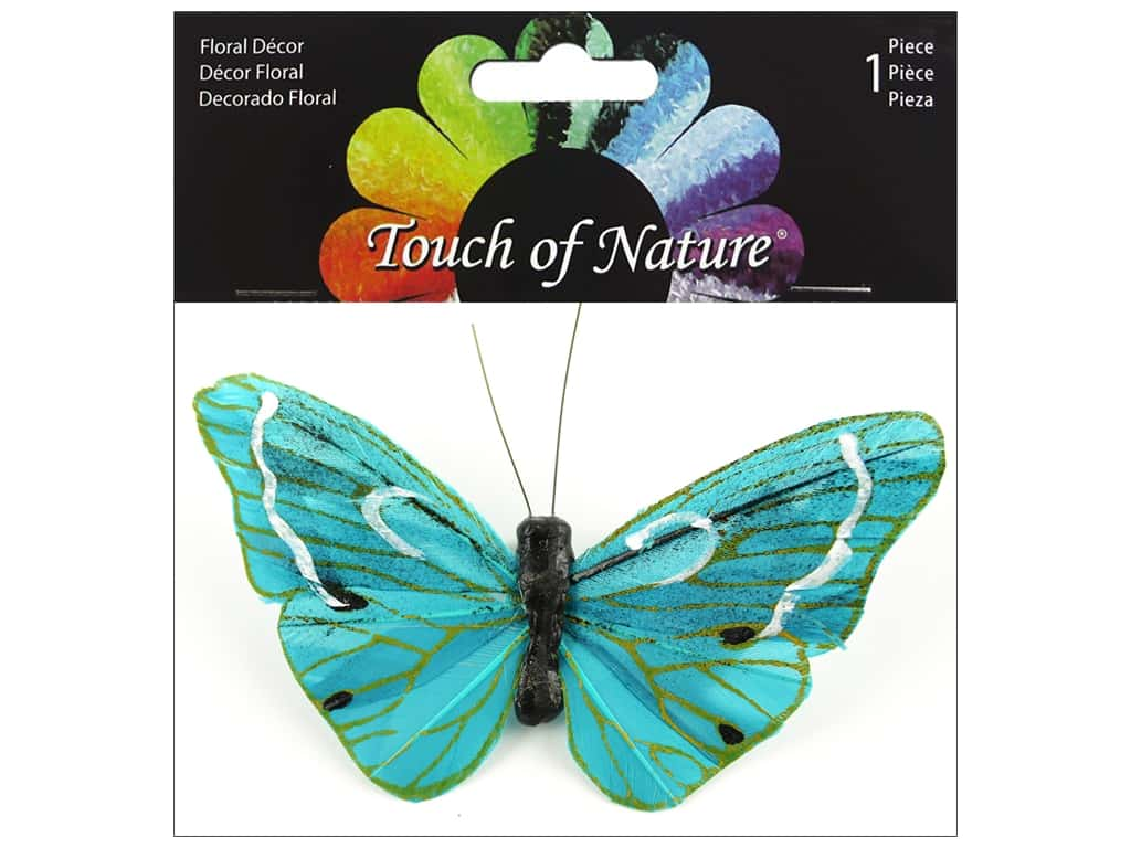 Midwest Design Butterfly 4 in. Feather With Clip Teal/Gold