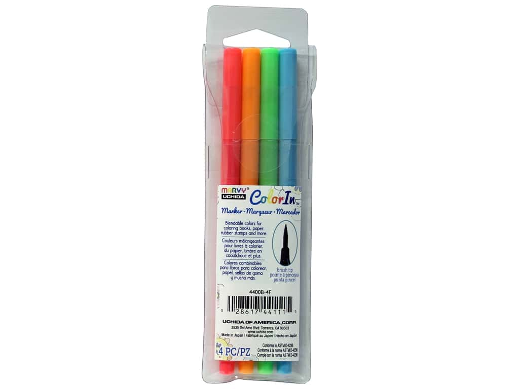 Uchida ColorIn Markers Brush Tip 4 pc. Neon
