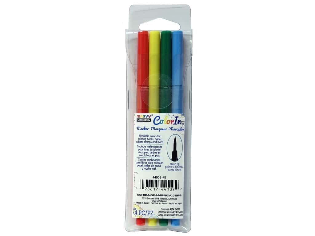 Uchida ColorIn Markers Brush Tip 4 pc. Bold