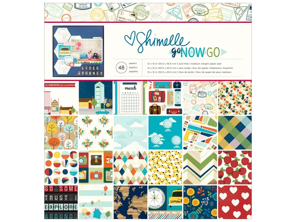 """American Crafts Collection Shimelle Go Now Go Paper Pad 12""""x 12"""""""