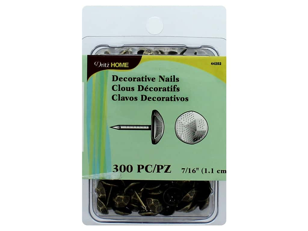Dritz Decorative Nails 7/16 in. Round Hammered Antique Gold 300 pc.