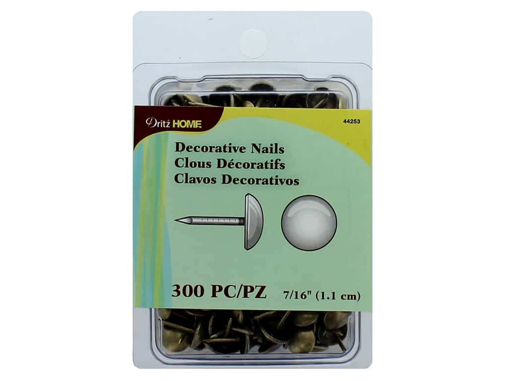 Dritz Decorative Nails 7/16 in. Round Smooth Gold 300 pc.