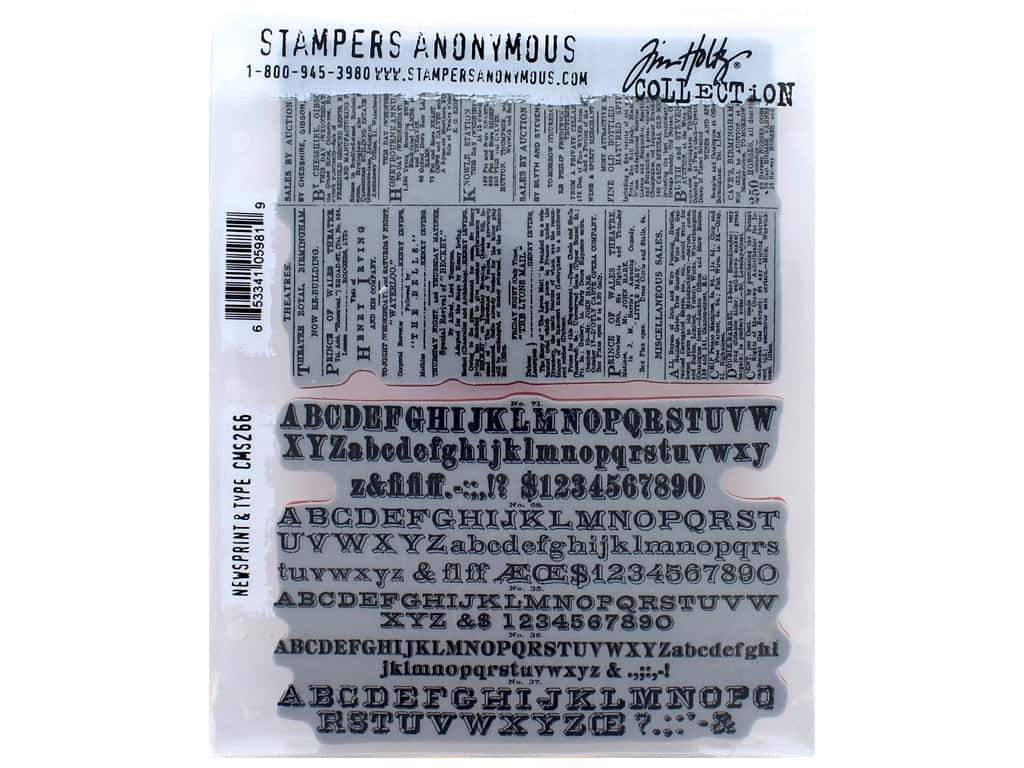 Tim Holtz Cling Mount Stamp Set 2 pc. Newsprint & Type