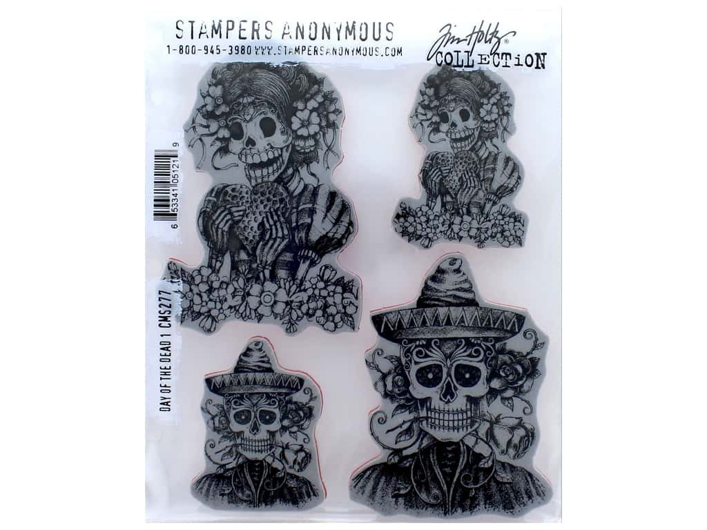 Tim Holtz Cling Mount Stamp Set 4 pc. Day Of The Dead 1