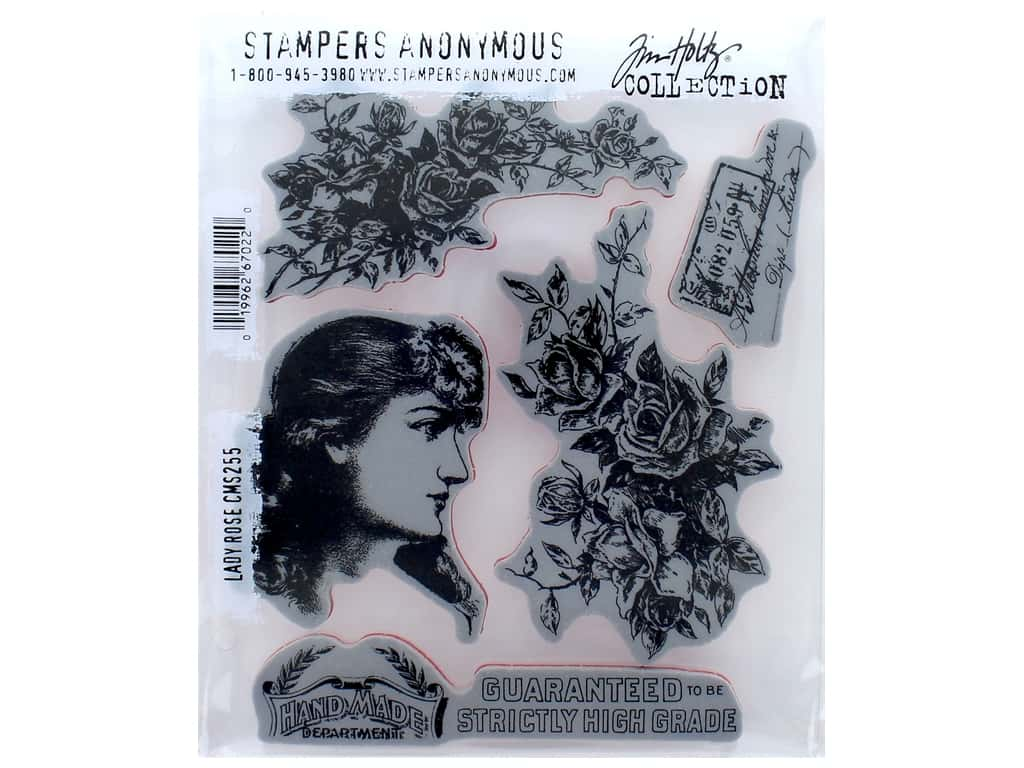 Stampers Anonymous Tim Holtz Cling Mount Stamp Set - Lady Rose